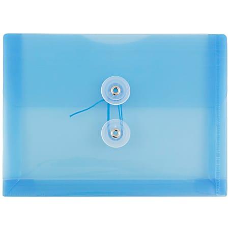 """JAM Paper® Index Booklet Plastic Envelopes, 5 1/2"""" x 7 1/2"""", Gummed Seal, Blue, Pack Of 12"""
