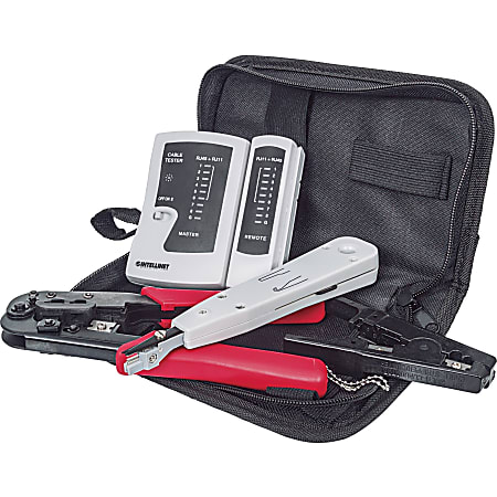 Intellinet Network Solutions 4-Piece Network Tool Kit Composed of LAN Tester, LSA Punch Down Tool, Crimping Tool and Cutter/Stripper Tool - Includes Durable Storage Bag