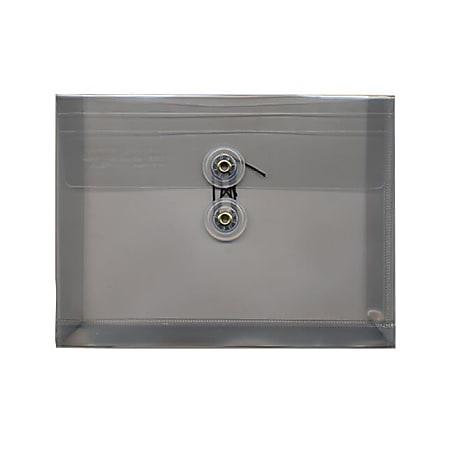 "JAM Paper® Index Booklet Plastic Envelopes, 5 1/2"" x 7 1/2"", Gummed Seal, Smoke Gray, Pack Of 12"