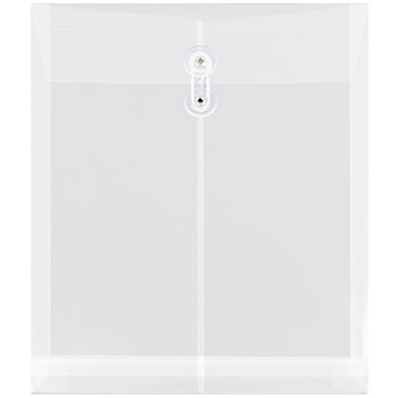 "JAM Paper® Open-End Plastic Envelopes, Letter-Size, 9 3/4"" x 11 3/4"", Clear, Pack Of 12"