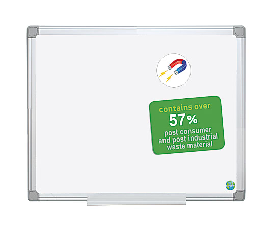 """MasterVision® Earth Platinum Pure White Magnetic Dry-Erase Whiteboard, 48"""" x 72, 57% Recycled, Aluminum Frame With White Finish"""