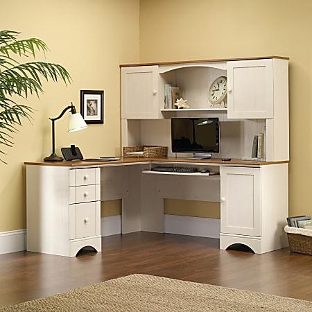 Office Depot, Sauder Antique White Desk With Hutch