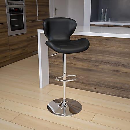 Flash Furniture Contemporary Mid-Back Adjustable Bar Stool, Chrome/Black
