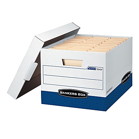 """Bankers Box® R Kive® FastFold® Heavy-Duty Storage Boxes With Locking Lift-Off Lids And Built-In Handles, Letter/Legal Size, 15""""D x 12"""" x 10"""", 60% Recycled, White/Blue, Case Of 4"""