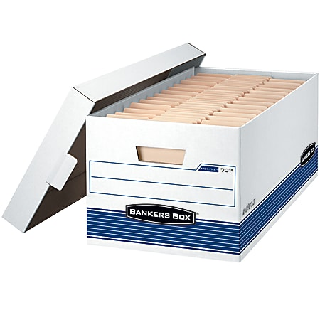 """Bankers Box® Stor/File™ Medium-Duty Storage Boxes With Locking Lift-Off Lids And Built-In Handles, Legal Size, 24"""" x 15"""" x 10"""", 60% Recycled, White/Blue, Case Of 4"""