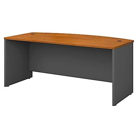 """Bush Business Furniture Components Bow Front Desk, 72""""W x 36""""D, Natural Cherry/Graphite Gray, Standard Delivery"""