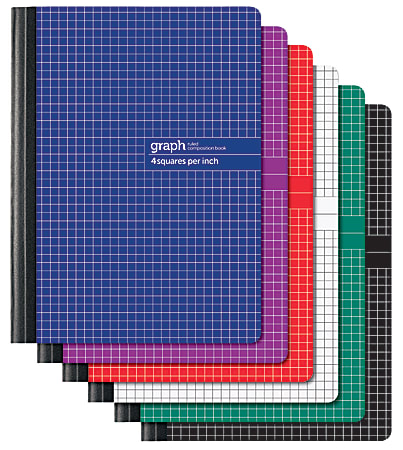 """Office Depot® Brand Composition Book, 7 1/4"""" x 9 3/4, 1 Subject, Quadrille Ruled, 160 Pages (80 Sheets), Assorted Colors"""