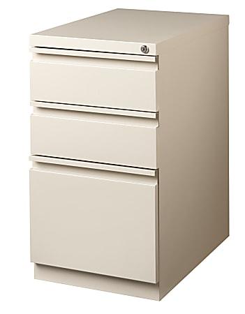 "WorkPro® 23""D Vertical 3-Drawer Mobile Pedestal File Cabinet, Metal, Putty"