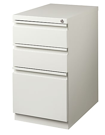 """WorkPro® 23""""D Vertical 3-Drawer Mobile Pedestal File Cabinet, Metal, Light Gray"""