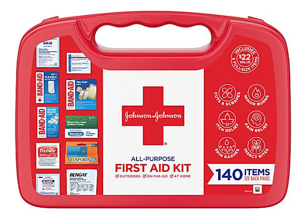 Johnson & Johnson All Purpose First Aid Kit, 140 Pieces