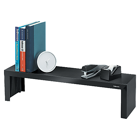 """Fellowes® Designer Suites Vertical Desktop Shelf, 6 3/4""""H x 26""""W x 7""""D, Black/Pearl"""