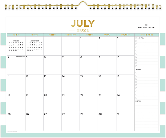 """Blue Sky™ Day Designer Monthly Wall Calendar, 12"""" x 15"""", Rugby Stripe Mint, July 2021 To June 2022, 127373"""