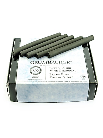 Grumbacher Artists' Charcoal Sticks, Jumbo Vine, Medium, Black, Box Of 25