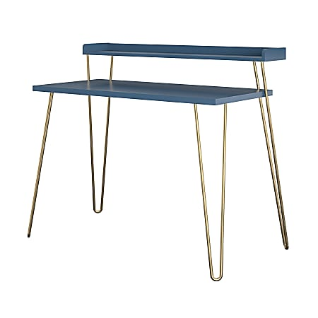"""Ameriwood Home Haven 45""""W Retro Computer Desk With Riser, Navy"""
