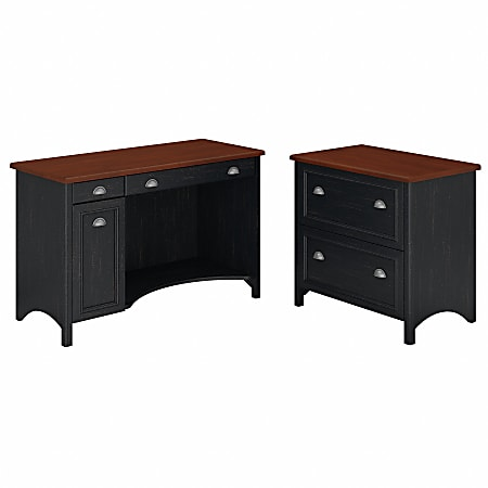 Bush Furniture Fairview Computer Desk With 2 Drawer Lateral File Cabinet, Antique Black/Hansen Cherry, Standard Delivery