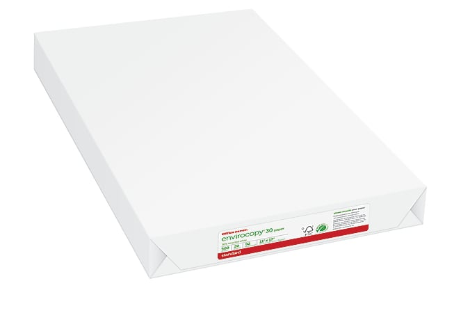 """Office Depot® Brand EnviroCopy® Paper, Ledger Size (11"""" x 17""""), 20 Lb, 30% Recycled, FSC® Certified, White, Ream Of 500 Sheets"""