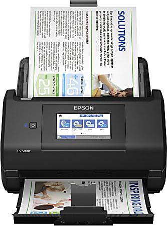 Epson® WorkForce® ES-580W Wireless Duplex Touchscreen Desktop Color Document Scanner with Auto Document Feeder