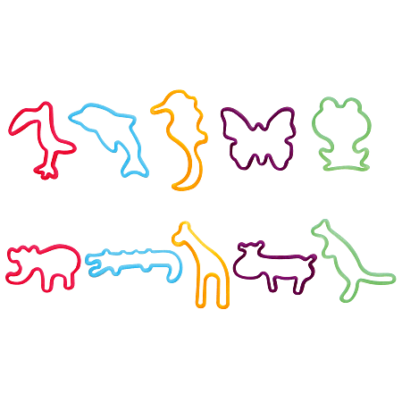 Office Depot® Brand Shaped Rubber Bands, Animals, Pack Of 20