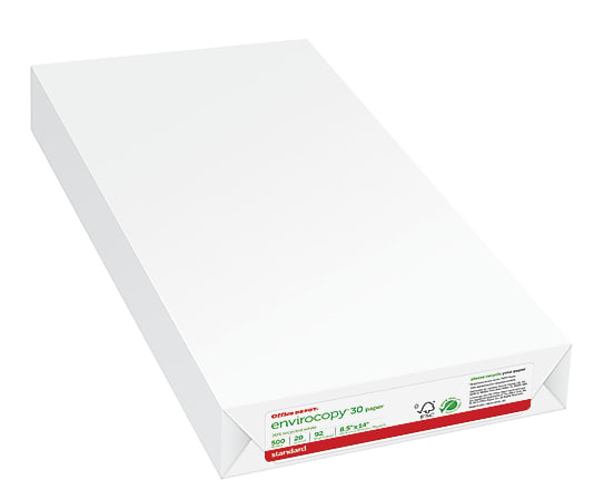"""Office Depot® Brand EnviroCopy® Paper, Legal Size (8 1/2"""" x 14""""), 20 Lb, 30% Recycled, FSC® Certified, Ream Of 500 Sheets"""