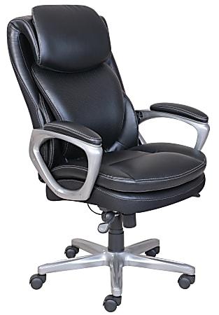 Serta® Smart Layers™ Arlington AIR™ Bonded Leather High-Back Executive Chair, Black/Silver