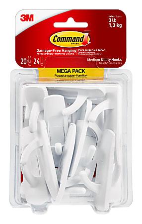 Command™ Medium Utility Hook Mega Pack, Damage-Free, White, Pack of 10 Pairs of Hooks, 12 Pairs of Strips