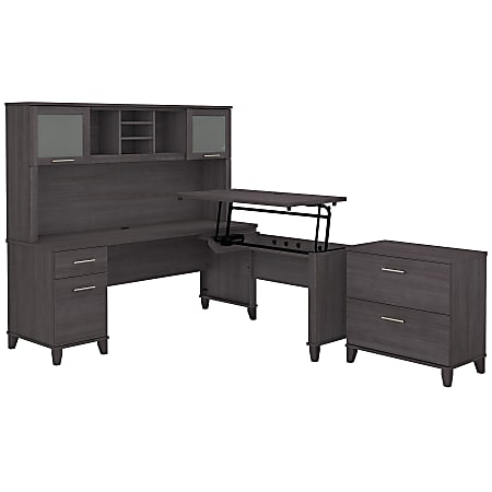 """Bush Furniture Somerset 72""""W 3-Position Sit-To-Stand L-Shaped Desk With Hutch And File Cabinet, Storm Gray, Standard Delivery"""