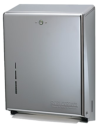 "San Jamar C-Fold/Multifold Towel Dispenser, 14 3/4""H x 11 3/8""W x 4""D, Chrome"