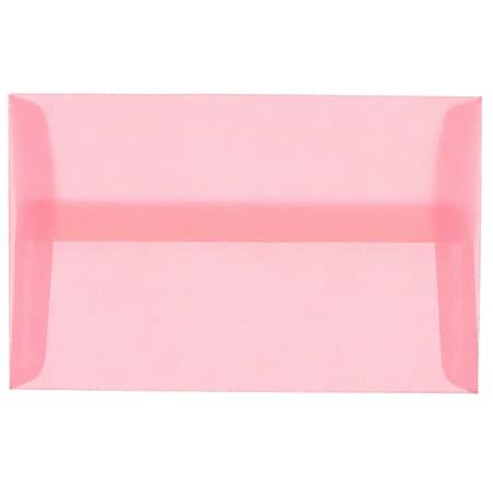 """JAM Paper® Translucent Envelopes With Gummed Closure, #4 Bar (A1), 3 5/8"""" x 5 1/8"""", Blush Pink, Pack Of 25"""
