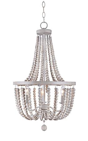 Kenroy Home Dumas 3-Light Wood Bead Chandelier, White/Weathered White