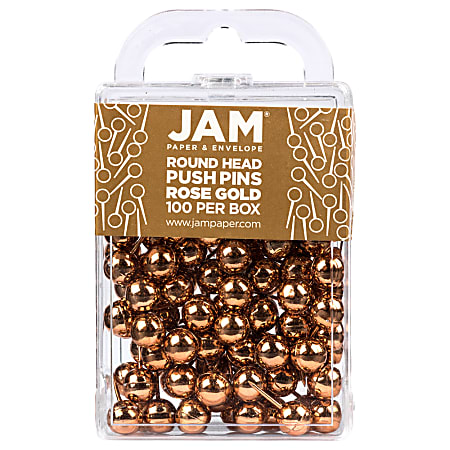 """JAM Paper® Colorful Push Pins, 1/2"""", Rose Gold, Pack Of 100 Push Pins"""