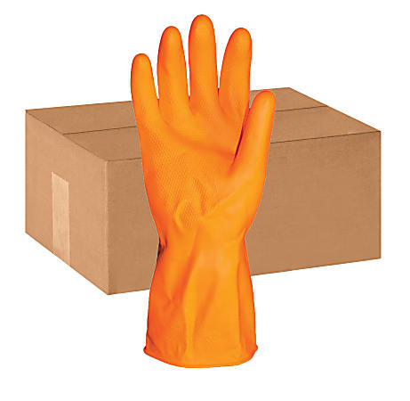 ProGuard Deluxe Flock Lined Latex Gloves, Large, Orange, Pack Of 12