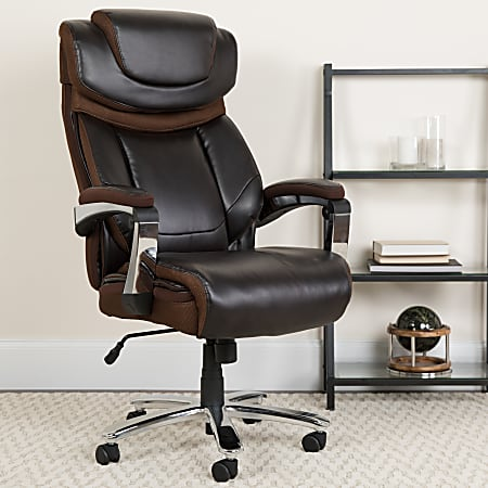 Flash Furniture Hercules Big And Tall Ergonomic Bonded LeatherSoft™ Office Chair With Height-Adjustable Headrest, Brown/Gray