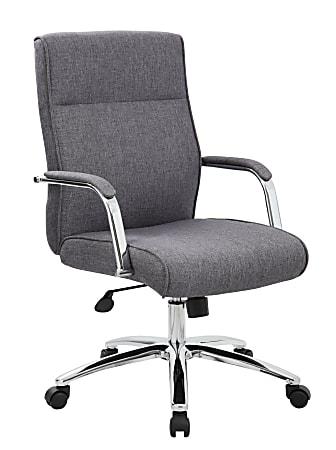 Boss Modern Conference Ergonomic High-Back Chair, Fabric, Slate Gray/Chrome