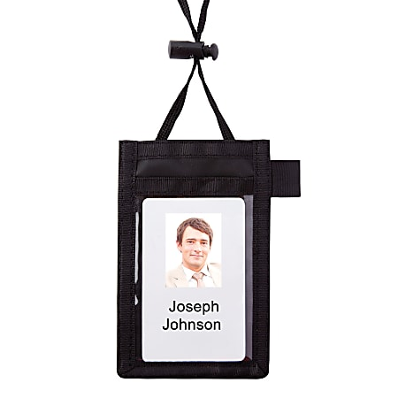 """Office Depot® Brand Neck Pouch Name Badge, Vertical, 2 1/4"""" x 3 1/2"""""""