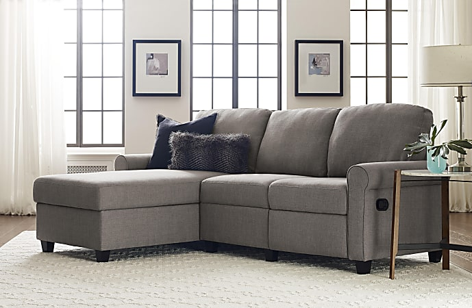 Serta® Copenhagen Reclining Sectional With Storage Chaise, Left, Gray/Espresso