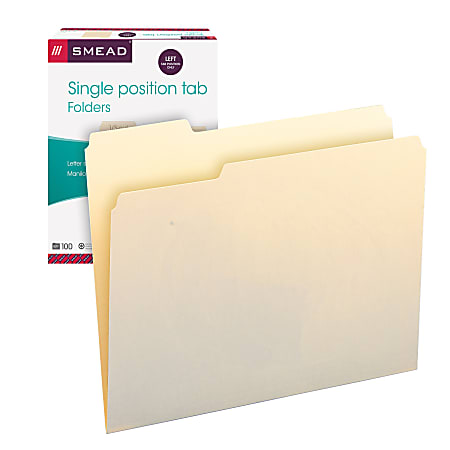Smead® Selected Tab Position Manila File Folders, Letter Size, 1/3 Cut, Position 1, Pack Of 100