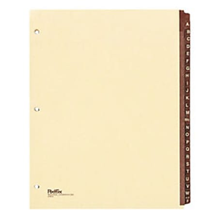 "Wilson Jones® Black Leather Tab Indexes, A-Z, 11"" x 8 1/2"""