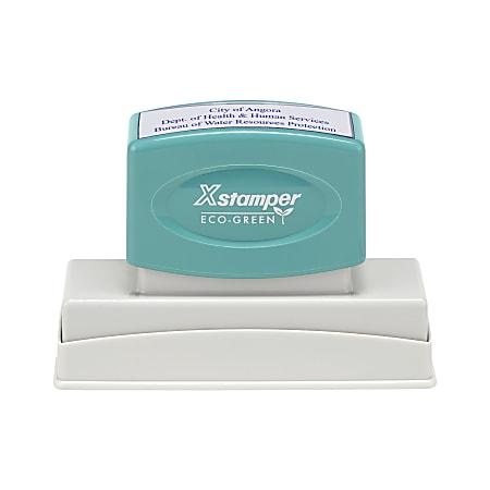 "Custom ECO-GREEN Xstamper® Pre-Inked Stamp, N26, 11/16"" x 3-5/16"" Impression"