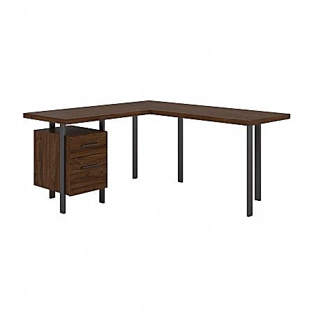 "Bush Furniture Architect 60""W L-Shaped Desk With Drawers, Modern Walnut, Standard Delivery"