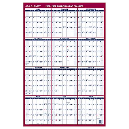 "AT-A-GLANCE® Vertical Reversible Erasable Academic/Regular-Year Wall Calendar, 36"" x 24"", PM210S28"