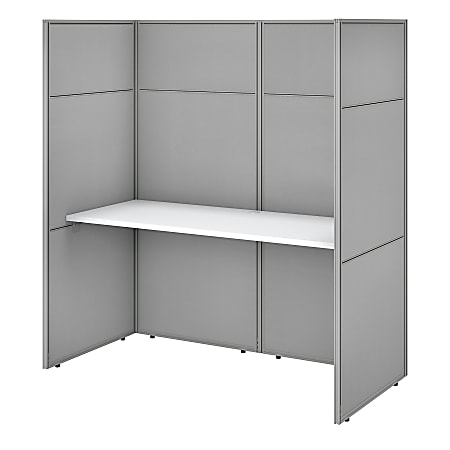 """Bush Business Furniture Easy Office 60""""W Cubicle Desk Workstation With 66""""H Closed Panels, Pure White/Silver Gray, Standard Delivery"""
