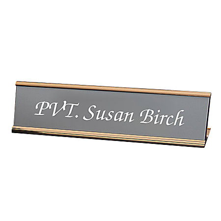 "Custom Engraved Plastic Desk Signs With Slide-in Metal Holder, 2"" x 8"""