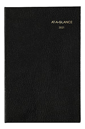 "AT-A-GLANCE® Fine Diary Small Weekly/Monthly Diary, 2-3/4"" x 4-1/4"", Black, January To December 2021, 720105"