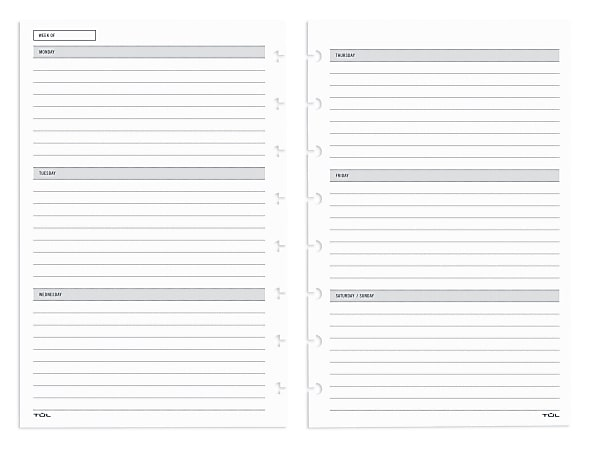 TUL® Discbound Undated Weekly/Monthly Refill Pages, Junior Size