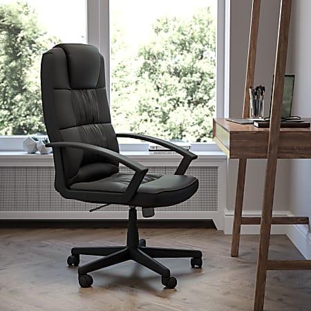 Flash Furniture Flash Fundamentals LeatherSoft High-Back Task Chair, Black