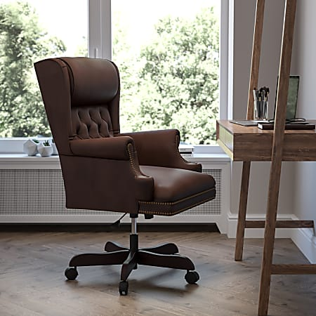 Flash Furniture Traditional Tufted Ergonomic Bonded LeatherSoft™ High-Back Swivel Chair, Brown