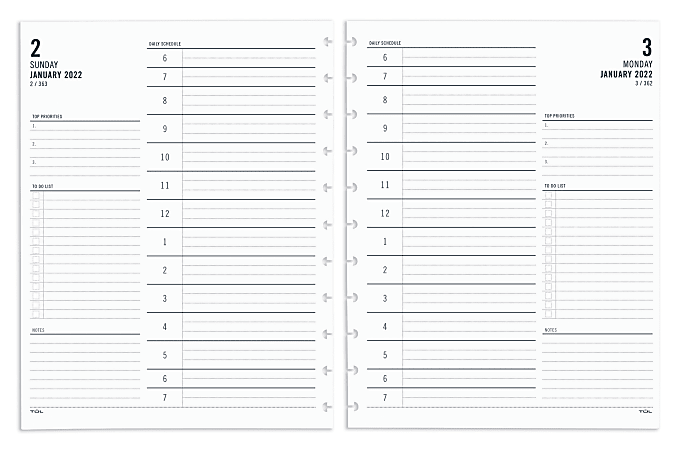 """TUL® Discbound Daily Refill Pages, Letter Size, 8-1/2"""" x 11"""", January To December 2022, TULLTFLR-1PG"""