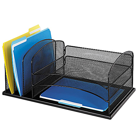 "Safco® Horizontal Mesh Desk Organizer, 8 1/4""H x 19 1/2""W x 11 1/2""D, Black"