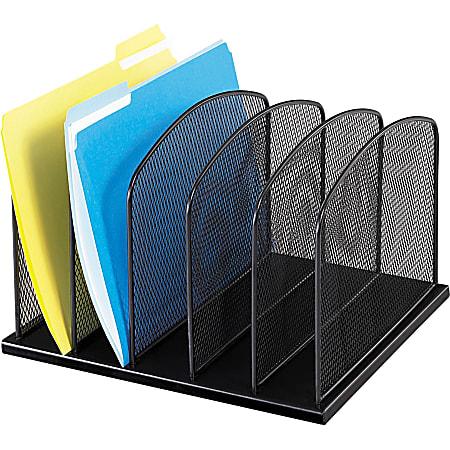 "Safco Mesh Desk Organizers - 5 Compartment(s) - 2"" - 8.3"" Height x 12.5"" Width x 11.3"" Depth - Desktop - Black - Steel - 1Each"