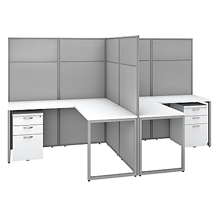 """Bush Business Furniture Easy Office 60""""W 2-Person L-Shaped Cubicle Desk With Drawers And 66""""H Panels, Pure White/Silver Gray, Standard Delivery"""